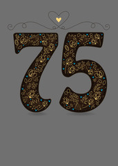 Brown Floral Number Seventy Five