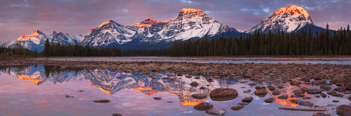 Mount Fryatt and Whirlpool Peak with the Athabasca River at sunrise, Jasper National Park, Alberta, Canada Wall mural