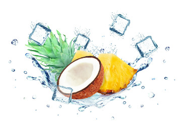 coconut and pineapple splashing water and ice cubes isolated on white