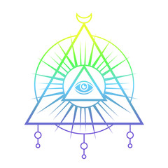 Sacred eye. Tattoo mystic design