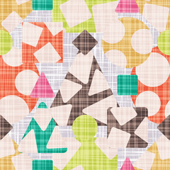 Abstract print textile with geometric shapes. Vector illustration. Rhombus, square, triangle and circle design.