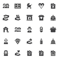Family vector icons set, modern solid symbol collection, filled style pictogram pack. Signs logo illustration. Set includes icons as couple person, photo album, baby carriages pram, house