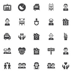 Family members vector icons set, modern solid symbol collection, filled style pictogram pack. Signs, logo illustration. Set includes icons as picture in photo frame, pregnancy, caravan trailer home