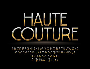Elegant Golden reflective Sign Haute Couture. Chic style Font. Elite Alphabet Letters, Numbers and Symbols