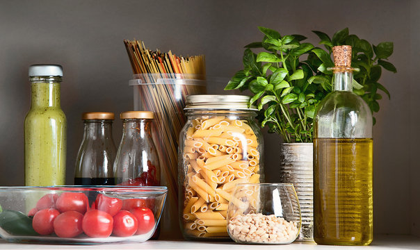 Kitchen pantry with italian food products.
