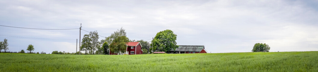 Red barn in sweden on a countryside