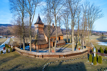 Debno, Poland. Medieval wooden Gothic church of the Saint Archangel Michael, built in 15th century, still active, with the oldest wooden polychrome in Europe inside. UNESCO World Heritage Site
