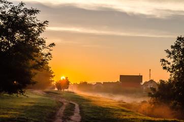 Novi Sad, Serbia - October 22, 2015: Sunrise over the entry to the village