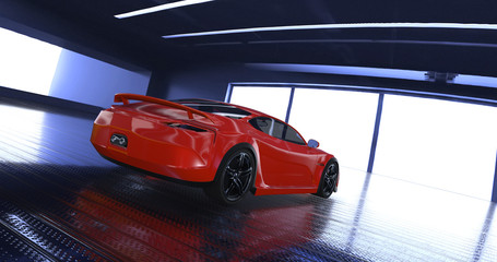 Luxury concept sports car 3d model in a showroom. Reflections all around.