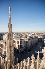 Milan, Italy panorama. View from Milan Cathedral Duomo.