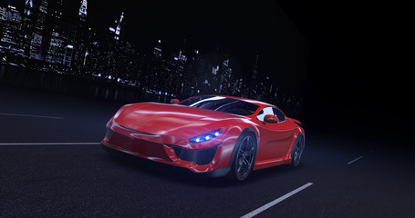 Red sports car moving on highway in the city at night with headlights on