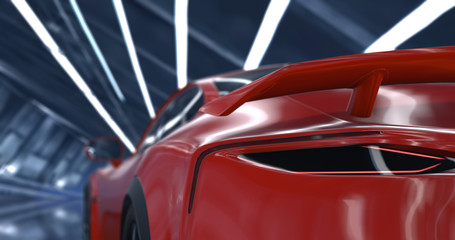 Generic luxury red sports car 3d renders. Close-up camera shots with depth of field.