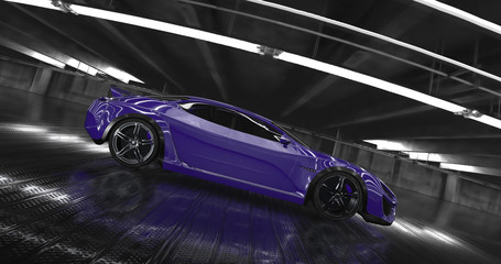 Luxury purple concept sports car 3d render. Reflections all around.