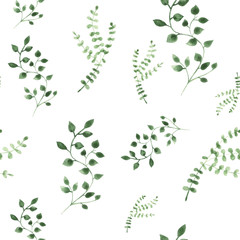 Watercolor illustration green leaves on isolated background. Seamless pattern.