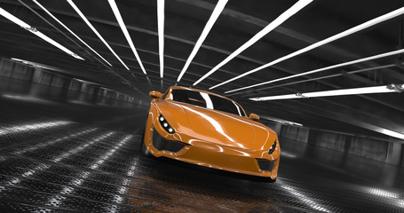 Luxury orange concept sports car 3d render. Reflections all around.