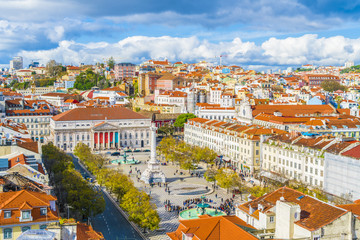 Wall Mural - View of  Rossio Square from Santa Justa Lift viewpoint, Lisbon, Portugal.