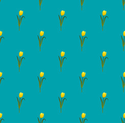 Yellow Tulips on Blue Teal Background