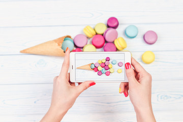 Photograph of dish a macaroons