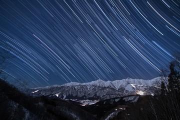 白馬から北アルプスに沈む星の軌跡