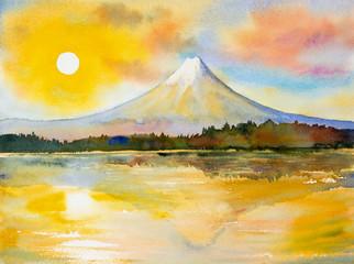Mount Fuji, lake kawaguchiko in sunset.