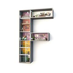 """Interior of a construction in shape of letter """"F"""""""