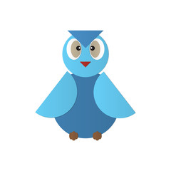 Cute blue owl vector icon illustration geomatic design for your , logo, web site, social media, mobile app, illustration