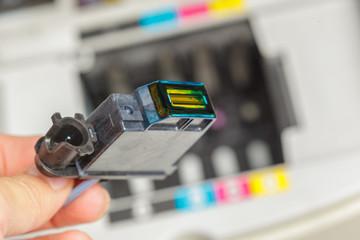 Detail of computer printer ink cartridges
