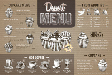 Vintage dessert menu design on cardboard. Fast food menu
