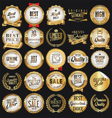 Luxury white labels and laurels collection vector illustration