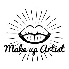 Lipstick. Lips. Make Up Artist Badge. Beauty Industry Design Elements
