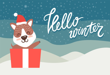Hello Winter Greeting Card Happy Bear Waving Hand