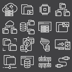 Set of data organization and management spot line web icons.