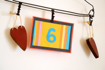 Number 6 anniversary celebration card against a bright white background