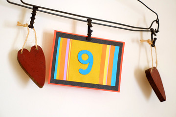 Number 9 anniversary celebration card against a bright white background