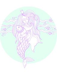 Графический рисунок. русалочка и Рыба. Мифическое существо русалочка держит рыбку