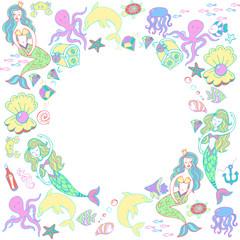 Мифические существа русалочки и подводный мир, рыбы, осьминоги, медузы, ракушки, сундук с сокровищами, якорь, жемчужины, дельфины, морские звезды, черепахи