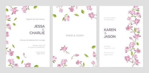 Set of beautiful wedding party invitation templates decorated with pink blooming magnolia flowers. Bundle of cards with floral decorative elements and place for text. Elegant vector illustration.