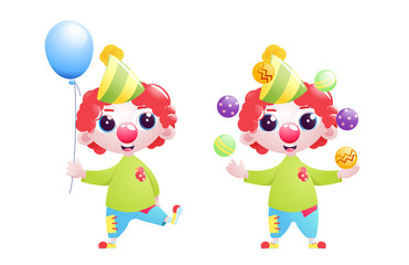 A little child clown character juggles and jokes and stands with a balloon at the bottom of the birthday