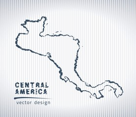 Central America national vector drawing map on white background