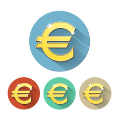 Euro signs set, on colored circles