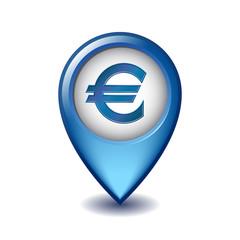 Marker location icon Euro sign.