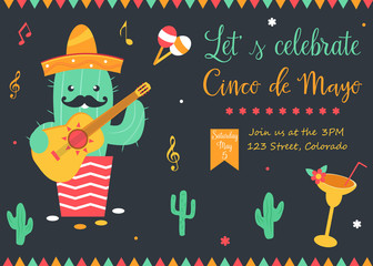 Cinco De Mayo poster template with bright cactus