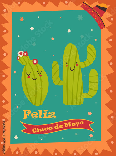 cinco de mayo poster template with bright cacti stock image and