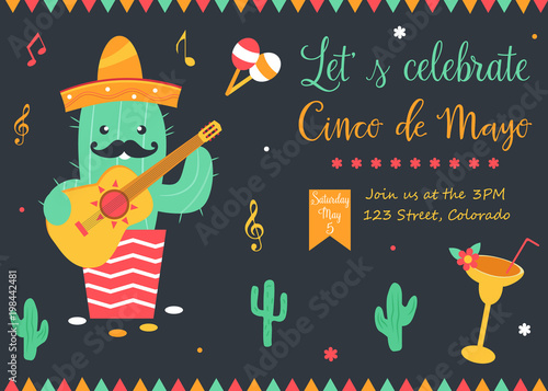 cinco de mayo poster template with bright cactus stock image and
