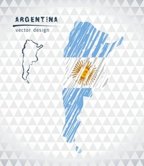 Argentina vector map with flag inside isolated on a white background. Sketch chalk hand drawn illustration