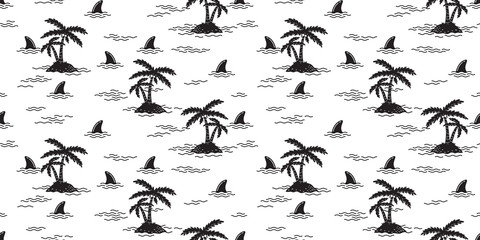 shark seamless pattern fin palm tree coconut tree dolphin whale vector ocean wave island isolated wallpaper background