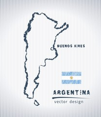 Argentina national vector drawing map on white background