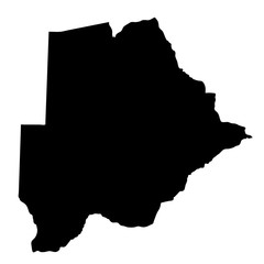 black silhouette country borders map of Botswana on white background of vector illustration