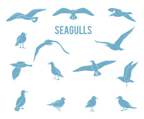Silhouettes of birds isolated on white background. Icons gulls.