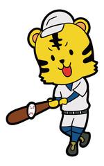 野球をする虎のイラスト素材